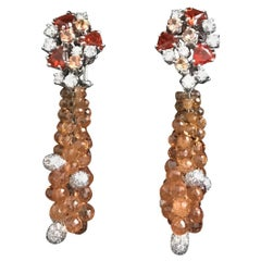 Chandelier Earrings Orange Fire Opal Sapphires and Diamonds
