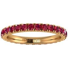 1.00 Carat Red Rubies Stackable Eternity Ring 18 Karat Yellow Gold