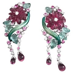 Chandelier Earrings Pink Rubelite Flowers Emerald Leaves Diamonds