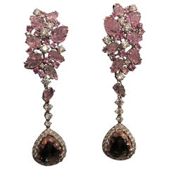 Chandelier Earrings Gold Diamonds Pink Sapphires Pink Tourmaline