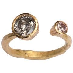 Salt and Pepper and Pink Diamond 18 Karat Gold Ring Handmade by Disa Allsopp