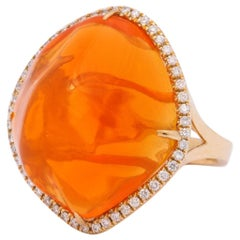 Fire Opal Diamond Gold Cocktail Ring