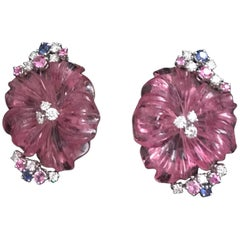 Clip-On Earrings Pink and Blue Sapphires Pink Tourmaline Flowers Diamonds