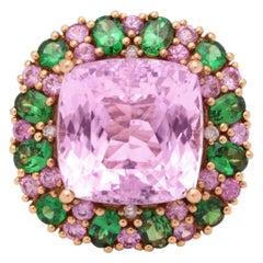 Multi-Color Kunzite Tsavorite Garnet Diamond Gold Cocktail Ring