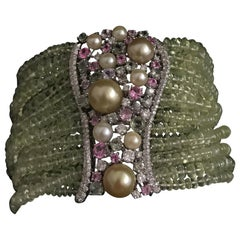 Charm Chrysoberyl Bracelet Pearls Diamonds Pink and Green Sapphires