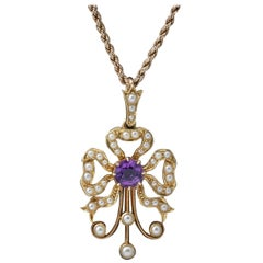 Antique Edwardian Amethyst Pearl Pendant Necklace 15 Carat Gold, circa 1910