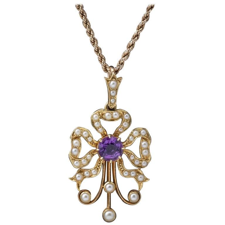 Antique Edwardian Amethyst Pearl 15 Carat Gold, circa 1910 Pendant Necklace For Sale