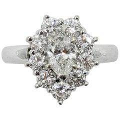 1.46 Carat Diamond Wedding Engagement Cocktail Ring Pear Shape 18 Karat Gold
