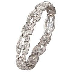 French Art Deco Platinum and Diamonds Bracelet