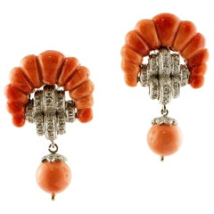 Elatius Coral, Diamonds, White and Rose Gold Earrings