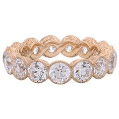 Hancocks 4.90 Carats Old European Cut Diamond Full Set Eternity Rose Gold Ring