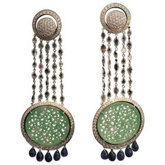 Chandelier Earrings Green Jade Rose Cut Diamonds Sapphires White Gold