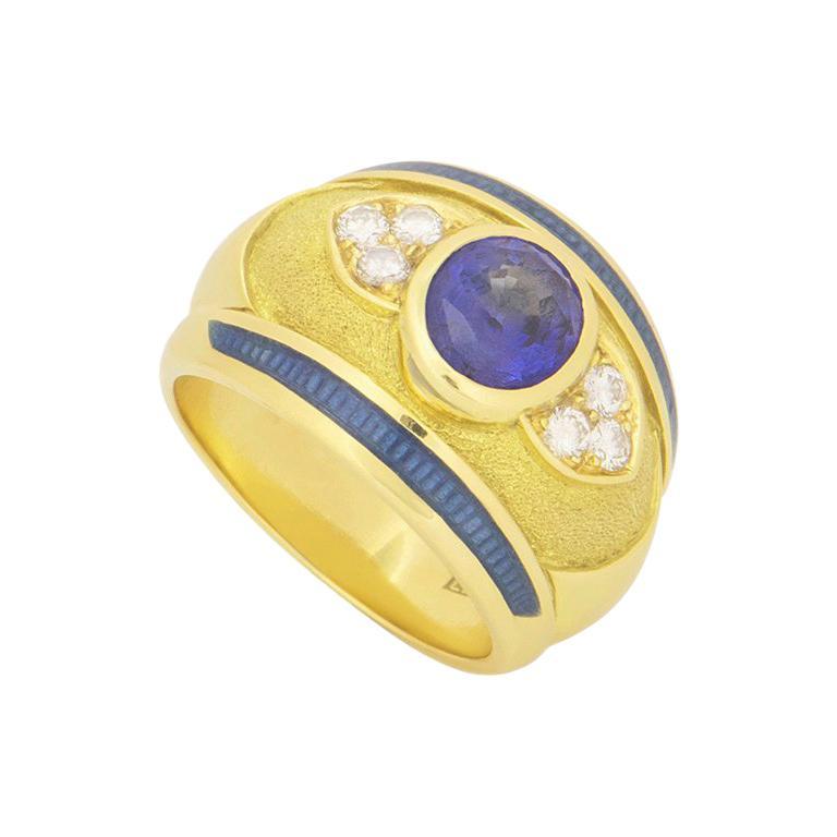 Leo de Vroomen Diamond and Sapphire Ring For Sale