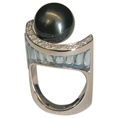 Fashion Ring, Tahitian Black Pearl, Blue Topaz, Diamonds, White Gold