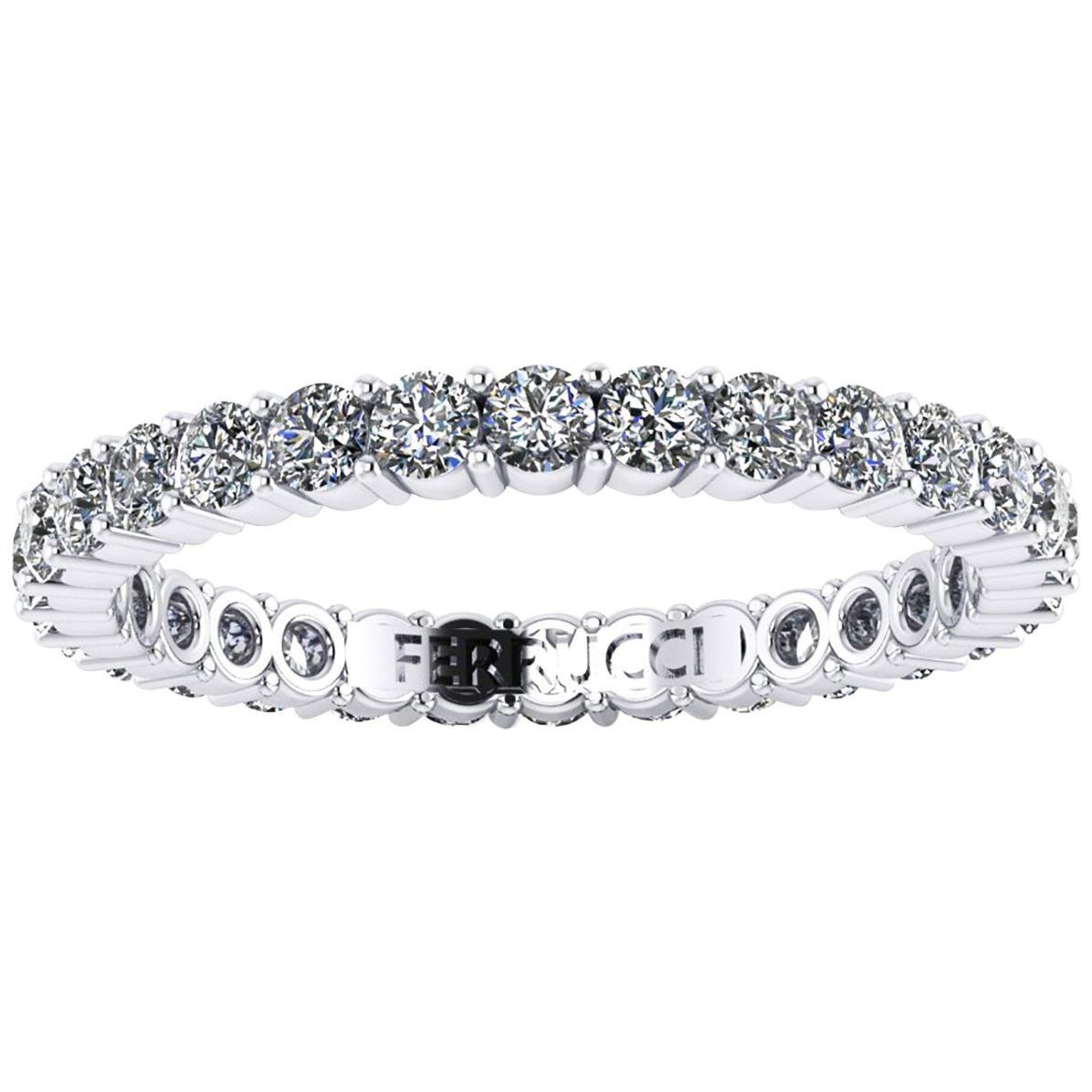 1.00 Carat White Diamonds Stackable Eternity Ring 18 Karat White Gold