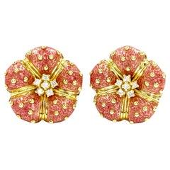 Hidalgo 18 Karat Diamond and Enamel Flower Earrings