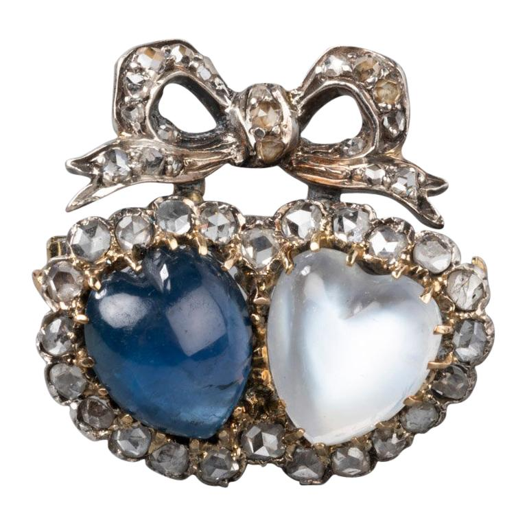 Antique Victorian Double Hearts Sapphire and Moon Stone Brooch For Sale