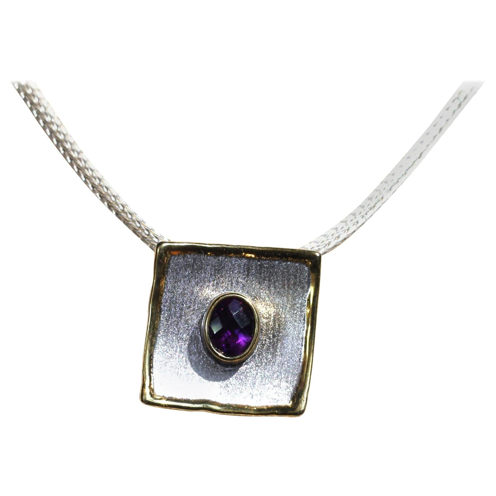 Yianni Creations Amethyst Fine Silver and 24 Karat Gold Two Tone Square Pendant