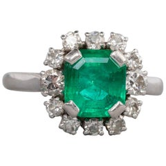 1.80 Carat French Emerald and Diamonds Ring
