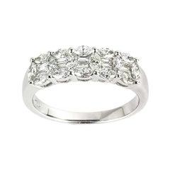 Diamond Half Eternity Wedding Band Ring 0.92 Total