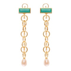 Ammanii Drop Earrings Vermeil Gold with Green Chrysoprase and  Pearls