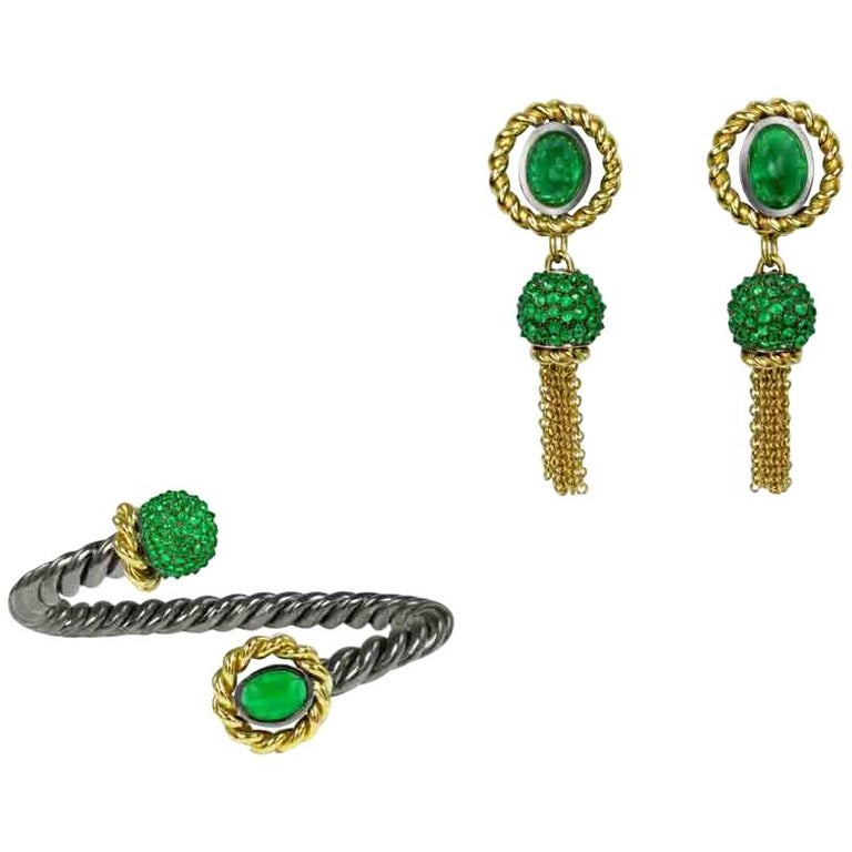 Emerald 18 Karat Yellow Gold Silver Bangle Earring Suite AENEA Jewellery For Sale