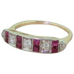 Art Deco Old Cut Diamond and Ruby Half Hoop Ring