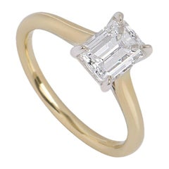 GIA Certified Emerald Cut Diamond Solitaire Engagement Ring 1.31 Carat