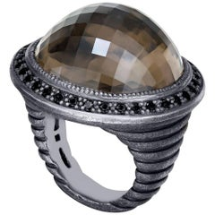 Alex Soldier Smoky Topaz Oxidized Sterling Silver Cocktail Ring One of a Kind