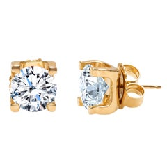 5.92 Carat Total Weight Round Brilliant Cut Diamond Stud Earrings in 18 Karat