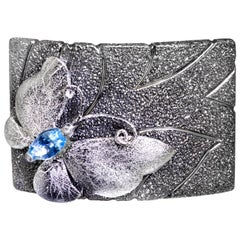 Alex Soldier Blue Topaz Sterling Silver Platinum Textured Butterfly Ring