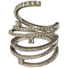 18 Karat White Gold 1.24 Carat Round Diamond Hinged Spiral Ring