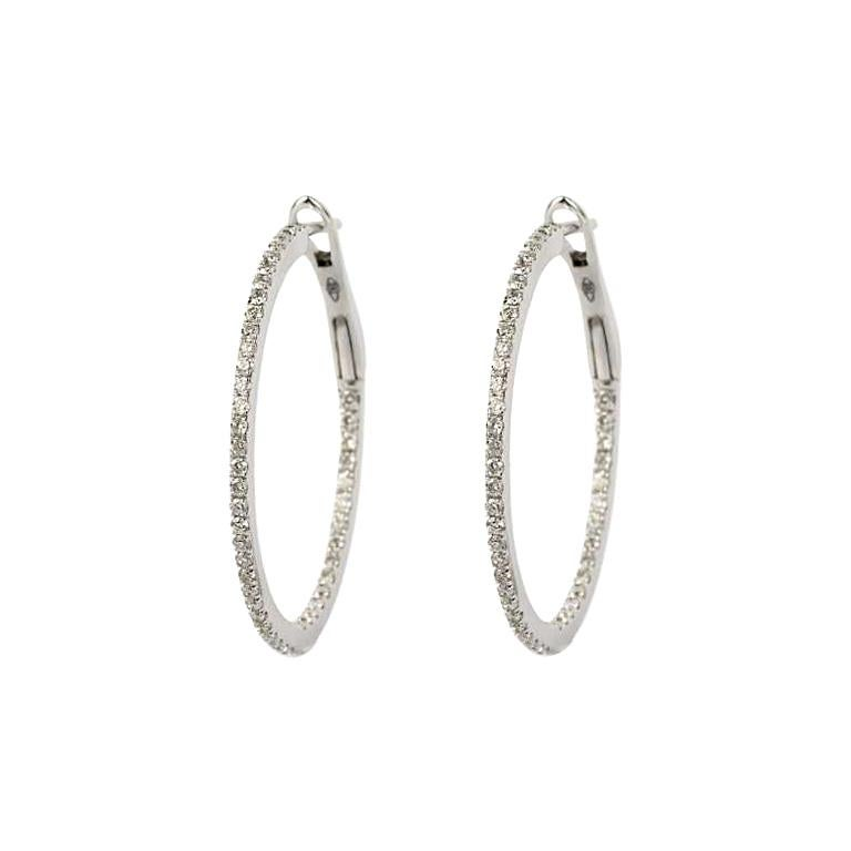 Diamond and White Gold Large Hoop Earrings 0.96 Carat