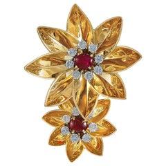 1940s Cartier Diamond, Ruby Flower Brooch