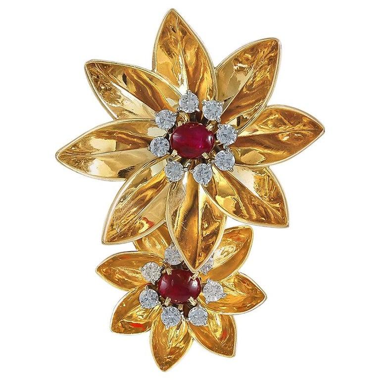 1940s Cartier Diamond, Ruby Flower Brooch For Sale