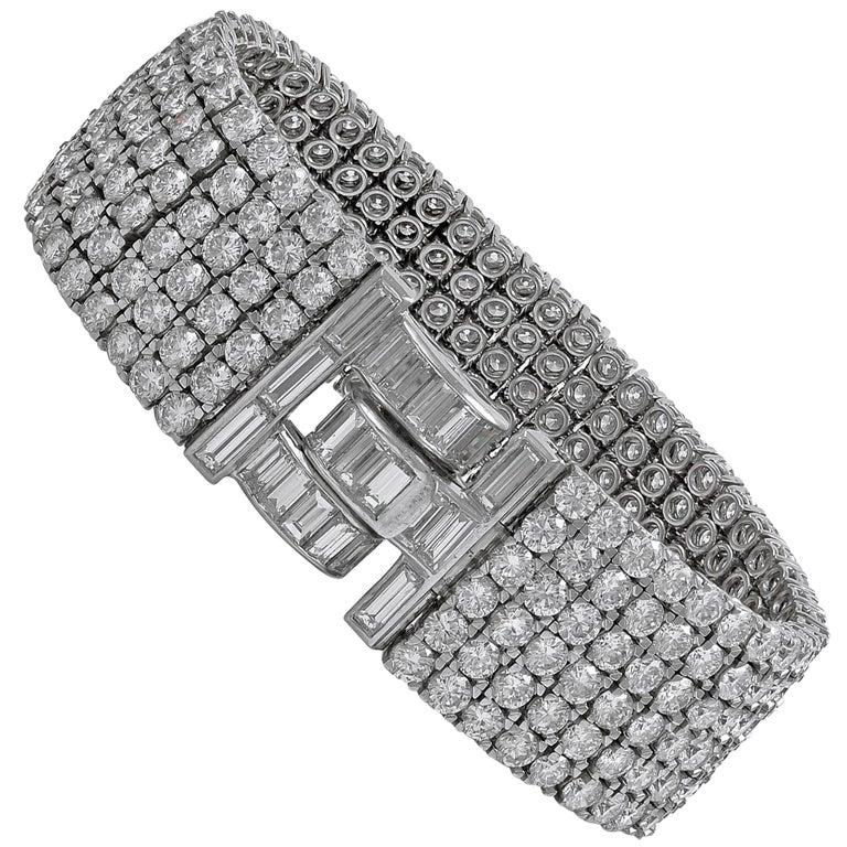 Van Cleef & Arpels Six-Row Diamond Platinum Bracelet For Sale