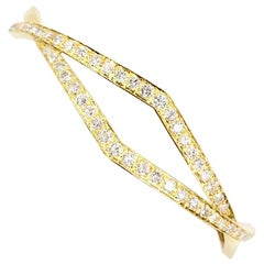 Modern 18 Karat Crossover Diamond Bangle Bracelet