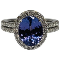 14 Karat White Gold 3.26 Carat Total Weight Tanzanite and Diamond Ring