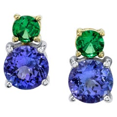 Tsavorite and Tanzanite 18 Karat Yellow Gold Earrings