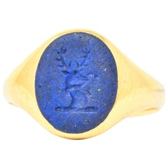 Victorian English Lapis Lazuli 18 Karat Gold Signet Unisex Stag Ring