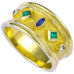 Georgios Collections 18 Karat Yellow Gold Emerald Sapphire and Diamond Ring