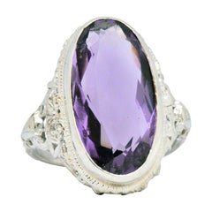 Art Nouveau 6.75 Carat Amethyst 18 Karat White Gold Ring