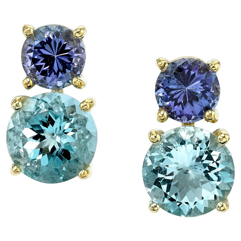 Tanzanite and Aquamarine 18 Karat Yellow Gold Earrings For Sale