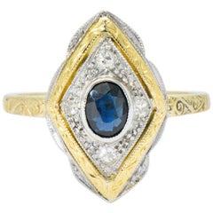 Edwardian 0.50 Carat Sapphire Diamond Platinum-Topped 18 Karat Gold Ring