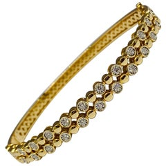 14 Karat Yellow Gold Bezel Set 0.50 Carat Round Diamond Double Row Bracelet
