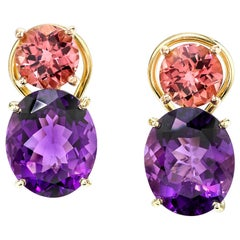 Round Pink Tourmaline and Oval Amethyst 18 Karat Rose Yellow Gold Earrings