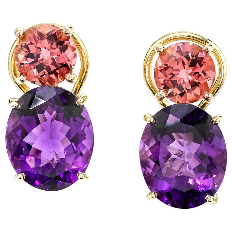 Round Pink Tourmaline and Oval Amethyst 18 Karat Rose Yellow Gold Earrings For Sale