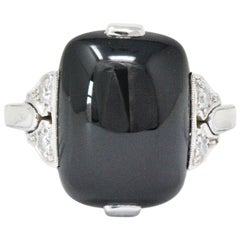 Tiffany & Co. Edwardian Diamond Onyx Platinum-Topped 18 Karat Gold Ring