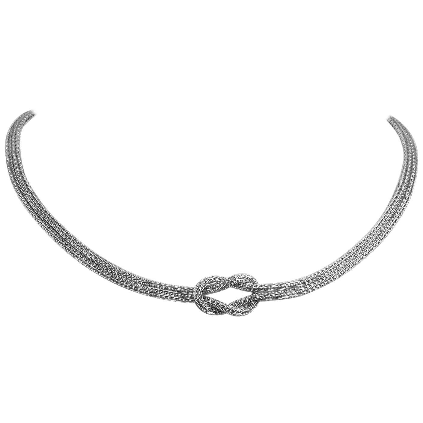 Georgios Collections 18 Karat White Gold Rope Necklace with Hercules Knot