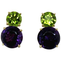 10.23 Carat Amethyst and 3.84 Carat Peridot 18 Karat Yellow Gold Earrings